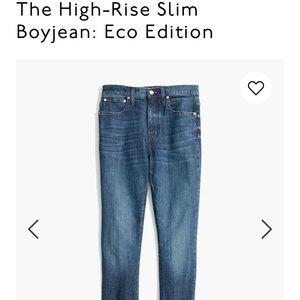 Madewell high rise slim boy jean: eco edition